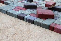 Ladrillos coloridos del pavimento Fotos de archivo libres de regalías