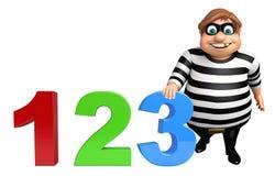 Ladro con il segno 123 Immagini Stock