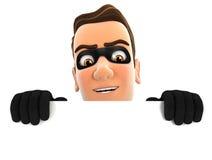ladro 3d che si nasconde dietro la parete bianca Fotografia Stock