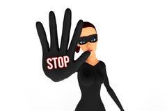 Ladro della donna con la mano nella posizione del blocco Fotografia Stock
