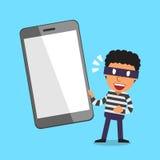 Ladro e smartphone del fumetto Fotografia Stock Libera da Diritti