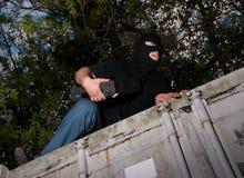Ladrão em uma máscara Foto de Stock Royalty Free