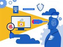 ladro Il pirata informatico che ruba i dati sensibili come parole d'ordine da un personal computer utile per gli anti virus di In illustrazione di stock