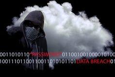 Ladro mascherato Concept del pirata informatico di computer Immagini Stock