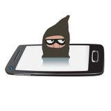 Ladro sullo smartphone Fotografie Stock