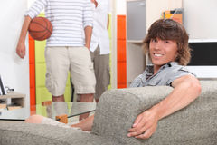 Lads at home Stock Photography