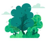 Magic and fairy forest in cartoon style  with texture. Vector tree isolate on white background. Forest or outdoor park. Magic and fairy forest in cartoon style stock illustration