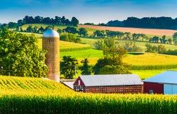 Ladugård och silo på en lantgård i lantliga York County, Pennsylvania arkivbild