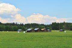 Ladugårdar i norr Gäddvik i LuleÃ¥ Royaltyfria Bilder