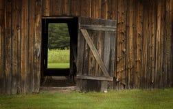 Ladugårddörr som är öppen på grönt landskap Royaltyfri Foto