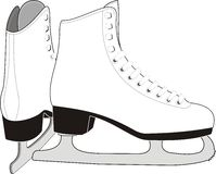 Lady's Ice Skates. The vector image of pair the white female sports skates for figure skating - isolated Stock Images