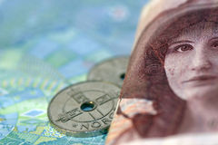 The lady on the 100 kroner bill. Camilla Collett, a famous lady in Norway on the 100 kroner bill.Yoy can see shes watching what you use you money for Stock Image