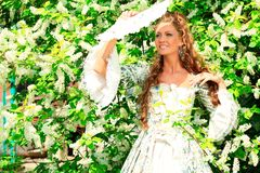 Lady. Beautiful young woman in medieval era dress on a sunny day outdoor Royalty Free Stock Images