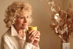 Lady 65. A senior woman with a cup of tea Stock Photos