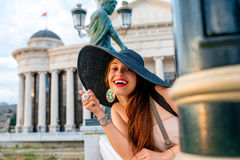 Lady advertising Skopje city center for visiting Stock Photography