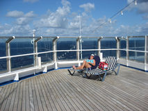 Lady Alone on the Top Deck royalty free stock photography