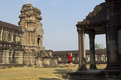 Lady in Angkor Wat Stock Photo