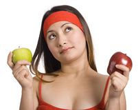 Lady and apples stock photography