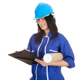 Lady architect holding clipboard and blueprint Stock Photo