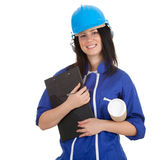 Lady architect holding clipboard and blueprint Royalty Free Stock Photography