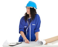 Lady architect witth clipboard and blueprint Royalty Free Stock Photos