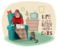 Lady In Armchair Cats Illustration. Old lady in armchair with cats during leisure in home interior, phrase about life vector illustration