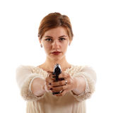 Lady armed with a gun Stock Image
