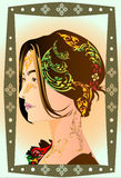 Lady art design and line thai Royalty Free Stock Photography