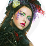 Lady with artistic make-up.Doll style. Stock Photography