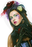 Lady with artistic make-up.Doll style. Royalty Free Stock Photography