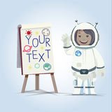 Lady astronaut presenting something on board -  Stock Photography