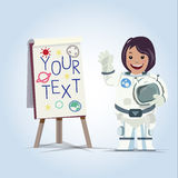 Lady astronaut presenting something on board -  Stock Photo