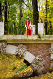 Lady in autumn forest. Lady in medieval red dress in the autumn forest Royalty Free Stock Photo
