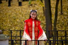 Lady in autumn forest Royalty Free Stock Images