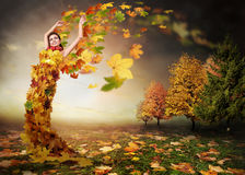Lady Autumn with leaves wings Royalty Free Stock Photos