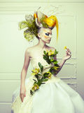 Lady with avant-garde hair. And bright make-up Royalty Free Stock Photography