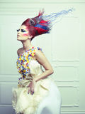 Lady with avant-garde hair. And bright make-up Stock Image