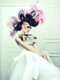 Lady with avant-garde hair Stock Image