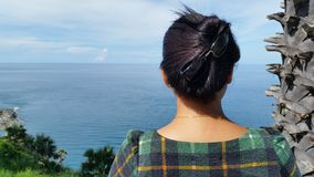Lady from back view at promthep cape Phuket Thailand Stock Photos