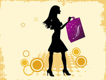 Lady with bag. On abstract background vector illustration