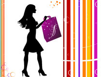 Lady with bag. On striped background vector illustration