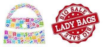Lady Bag Composition of Mosaic and Grunge Seal for Sales royalty free illustration