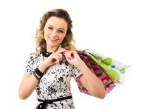 Lady with bags Stock Images