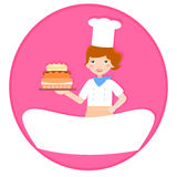 Lady baker and cake signboard Royalty Free Stock Photography