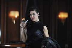 Lady in bar Stock Images