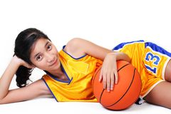 Lady basketball player Royalty Free Stock Photos