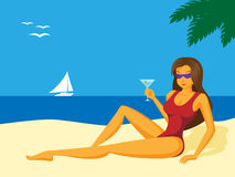 Lady_on_the_beach. Illustration of sexy girl on the beach Royalty Free Stock Images