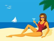 Lady_on_the_beach 免版税库存图片