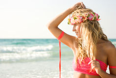 Lady on the beach Royalty Free Stock Image