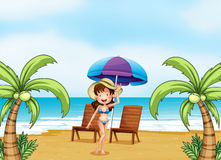 A lady at the beach with coconut trees Royalty Free Stock Photography